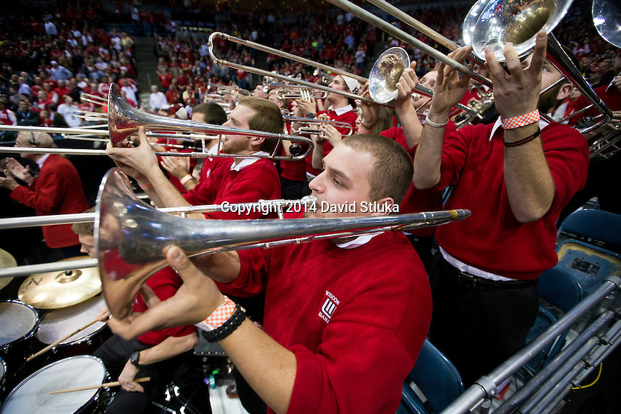Wisconsin Badgers band performs during the third-round game in the NCAA college basketball tournament against the Oregon Ducks Saturday, April 22, 2014 in Milwaukee. The Badgers won 85-77. (Photo by David Stluka)