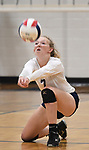 Jerseyville's Sydney Gillis goes low for a Marquette serve. Jerseyville played at Alton Marquette in a girls volleyball game on Wednesday September 11, 2018.<br /> Tim Vizer/Special to STLhighschoolsports.com