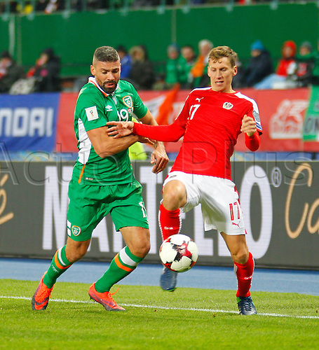 12.11.2016. Ernst Happel Stadion, Vienna, Austria. World Cup Qualifying Football. Austria versus Republic of Ireland. Florian Klein (Austria) and Jon Walters (Rep. of Ireland) challenge for the ball.