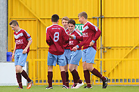 Aaron Connolly (At age 15) of Mervue United U15 celebrates with teammates after scoring against Salthill Devon.<br /> <br /> Mervue United v Salthill Devon, U15 GFA Cup Final, 12/5/15, Eamonn Deacy Park, Galway.