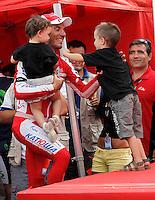 Joaquin Purito Rodriguez with his son and his daughter during the stage of La Vuelta 2012 between Lleida-Lerida and Collado de la Gallina (Andorra).August 25,2012. (ALTERPHOTOS/Acero) /NortePhoto.com<br /> <br /> **CREDITO*OBLIGATORIO** <br /> *No*Venta*A*Terceros*<br /> *No*Sale*So*third*<br /> *** No*Se*Permite*Hacer*Archivo**<br /> *No*Sale*So*third*