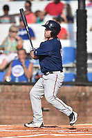 Johnson City Cardinals catcher Mitchell Kranson (9) swings at a pitch during a game against the Elizabethton Twins at Howard Johnson Field at Cardinal Park on June 26, 2016 in Johnson City, Tennessee. The Twins defeated the Cardinals 13-12. (Tony Farlow/Four Seam Images)