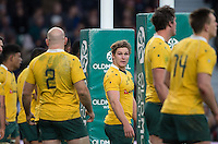Twickenham, United Kingdom. Michael HOOPER looks at SkipperStephan MOORE, during the Old Mutual Wealth Series Rest Match: England vs Australia, at the RFU Stadium, Twickenham, England, <br /> <br /> Saturday  03/12/2016<br /> <br /> [Mandatory Credit; Peter Spurrier/Intersport-images]