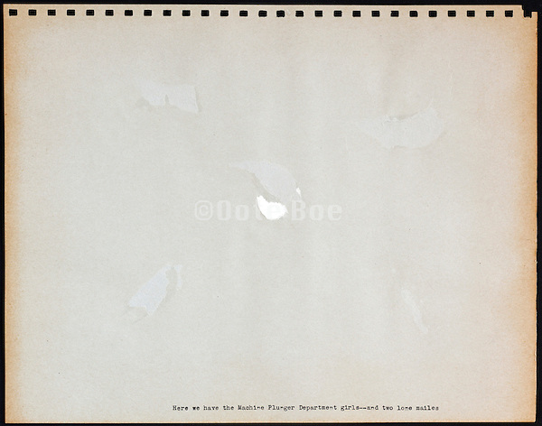 page from a photo album with missing image USA 1945