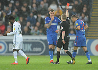 Bolton Wanderers' David Wheater is shown a red card by referee Gavin Ward<br /> <br /> Photographer Kevin Barnes/CameraSport<br /> <br /> The EFL Sky Bet Championship - Swansea City v Bolton Wanderers - Saturday 2nd March 2019 - Liberty Stadium - Swansea<br /> <br /> World Copyright © 2019 CameraSport. All rights reserved. 43 Linden Ave. Countesthorpe. Leicester. England. LE8 5PG - Tel: +44 (0) 116 277 4147 - admin@camerasport.com - www.camerasport.com