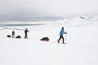 Skiløpere på Borebreen på Svalbard. Borebukta og Isfjorden i bakgrunnen. ---- Skiers on the glacier Borebreen on Svalbard.