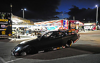 Jan. 16, 2012; Jupiter, FL, USA: The car of NHRA funny car driver Jeff Arend is towed to the starting line to run during testing at the PRO Winter Warmup at Palm Beach International Raceway. Mandatory Credit: Mark J. Rebilas-