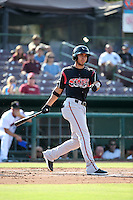 Javier Guerra (12) of the Lake Elsinore Storm bats against the Inland Empire 66ers at San Manuel Stadium on July 31, 2016 in San Bernardino, California. Inland Empire defeated Lake Elsinore, 8-7. (Larry Goren/Four Seam Images)