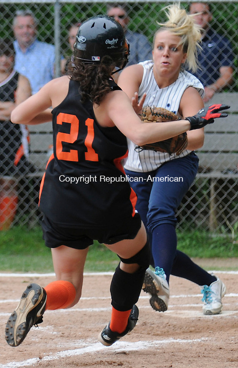 WATERTOWN, CT-17 MAY 2010-051710IP04- Watertown High School's Ali Brown runs to home base as Ansonia High School's Maria Darling waits there with the ball during their game in Watertown on Monday. Brown was out and Watertown won the game.<br /> Irena Pastorello Republican-American