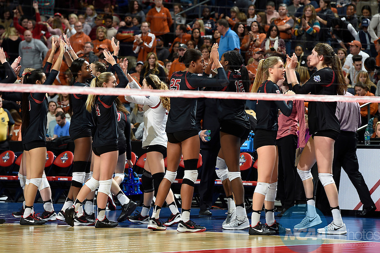 COLUMBUS, OH - DECEMBER 17:  Stanford University celebrates after the first set against the University of Texas during the Division I Women's Volleyball Championship held at Nationwide Arena on December 17, 2016 in Columbus, Ohio.  Stanford defeated Texas 3-1 to win the national title. (Photo by Jamie Schwaberow/NCAA Photos via Getty Images)