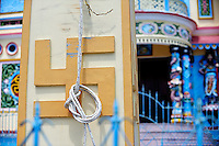 Swastika on flagpole, Cao Dai Temple, Vung Tau, Vietnam