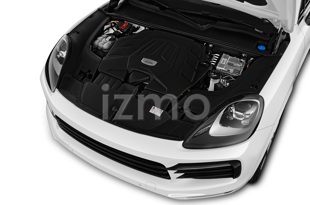 Car stock 2019 Porsche Cayenne Base 5 Door SUV engine high angle detail view