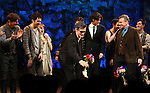 Rick Holmes, Adam Chandler-Berat, Celia Keenan-Bolger, Roger Rees, Christian Borle, Alex Timbers, Rick Elice, Kevin Del Aguila & Carson Elrod.during the Broadway Opening Night Performance Curtain Call for 'Peter And The Starcatcher' at the Brooks Atkinson Theatre on 4/15/2012 in New York City.