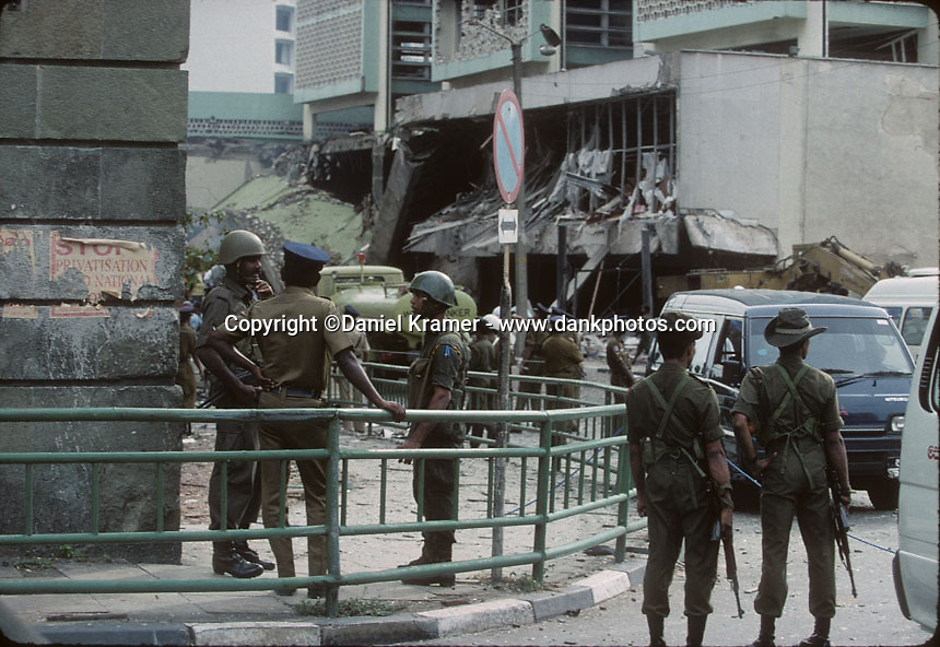 The Central Bank bombing on January 31, 1996 in Colombo, Sri Lanka was one of the deadliest terrorist attacks of the entire 26-year civil war. A truck containing about 440 pounds of high explosives crashed through the main gate of the Central Bank of Sri Lanka and a suicide bomber detonated the massive bomb, which tore through the bank, damaged eight other nearby buildings nearby and killed at least 91 people and injured 1,400 others.