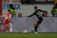 Andre Silva (Eintracht Frankfurt) gegen Granit Xhaka (Arsenal London) - 19.09.2019:  Eintracht Frankfurt vs. Arsenal London, UEFA Europa League, Gruppenphase, Commerzbank Arena<br /> DISCLAIMER: DFL regulations prohibit any use of photographs as image sequences and/or quasi-video.