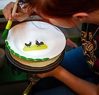 """Germany, Baden-Wurttemberg, Black Forest, Zell am Harmersbach: Zeller Keramik Manufaktur - where the famous """"Rooster & Hen"""" first saw the light of day more than 100 years ago   Deutschland, Baden-Wuerttemberg, Schwarzwald, Zell am Harmersbach im Ortenaukreis: Zeller Keramik Manufaktur - wo seit ueber 100 Jahren die beruehmten """"Hahn und Henne"""" Keramiken hergestellt und in die ganz Welt geliefert werden"""