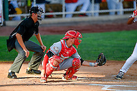 Morgan Lofstrom (8) of the Billings Mustangs on defense against the Orem Owlz in Pioneer League action at Home of the Owlz on July 25, 2016 in Orem, Utah. Home plate umpire Trevor Danneger handles the calls behind the plate.  Orem defeated Billings 6-5. (Stephen Smith/Four Seam Images)