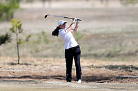 WALLACE, NC - MARCH 09: Olivia John of High Point University hits from the rough on the 12th hole of the River Course at River Landing Country Club on March 09, 2020 in Wallace, North Carolina.