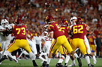 LOS ANGELES, CA - SEPTEMBER 7: Kedon Slovis #9 of the USC Trojans throws a pass during a game between USC and Stanford Football at Los Angeles Memorial Coliseum on September 7, 2019 in Los Angeles, California.