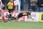 Jason Tovey dives over to score the Dragons first try. Newport Gwent Dragons V Ulster, Magners League. © Ian Cook IJC Photography iancook@ijcphotography.co.uk www.ijcphotography.co.uk
