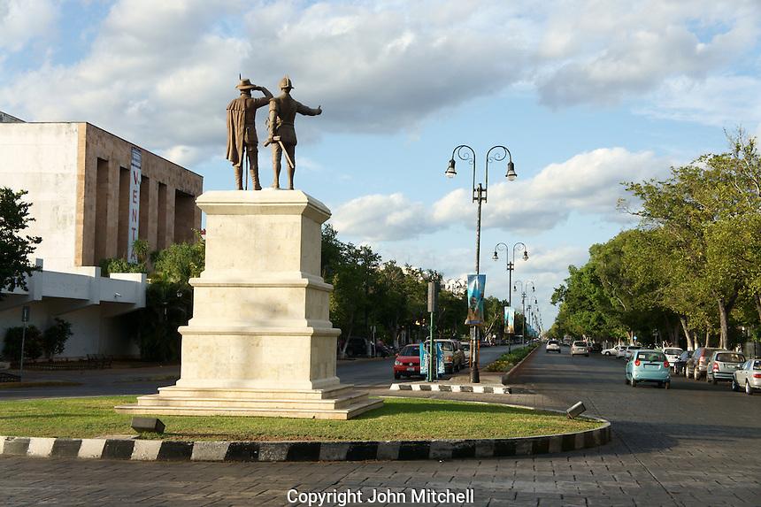 Statue at beginning of the Paseo de Montejo, Merida, Yucatan, Mexico.....