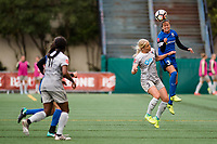 Seattle, WA - Sunday, August 13, 2017: Makenzy Doniak , Lauren Barnes during a regular season National Women's Soccer League (NWSL) match between the Seattle Reign FC and the North Carolina Courage at Memorial Stadium.