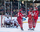 Patrick Harper (BU - 21), Jakob Forsbacka Karlsson (BU - 23), Charlie McAvoy (BU - 7) - The Boston University Terriers defeated the University of Massachusetts Minutemen 5-3 on Sunday, January 8, 2017, at Fenway Park in Boston, Massachusetts.The Boston University Terriers defeated the University of Massachusetts Minutemen 5-3 on Sunday, January 8, 2017, at Fenway Park.