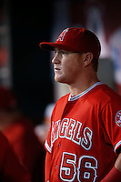 Kole Calhoun #56 of the Los Angeles Angels during a game against the Oakland Athletics at Angel Stadium on September 10, 2012 in Anaheim, California. Oakland defeated Los Angeles 3-1. (Larry Goren/Four Seam Images)