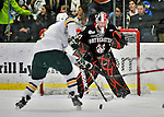 27 January 2012: Northeastern University Huskies' goaltender Chris Rawlings, a Junior from North Delta, British Columbia, in first period action against the University of Vermont Catamounts at Gutterson Fieldhouse in Burlington, Vermont. The Huskies defeated the Catamounts 8-3 in the first game of their 2-game Hockey East weekend series. Mandatory Credit: Ed Wolfstein Photo