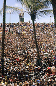 Salvador, Brazil. Carnival; Mass of revellers on the streets. Bahia State