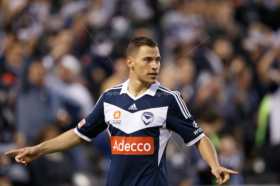 James TROISI of the Victory celebrates his goal in the round four match between Melbourne Victory and Wellington Phoenix in the Australian Hyundai A-League 2013-24 season at Etihad Stadium, Melbourne, Australia.<br /> This image is not for sale. Please visit zumapress.com for image licensing.