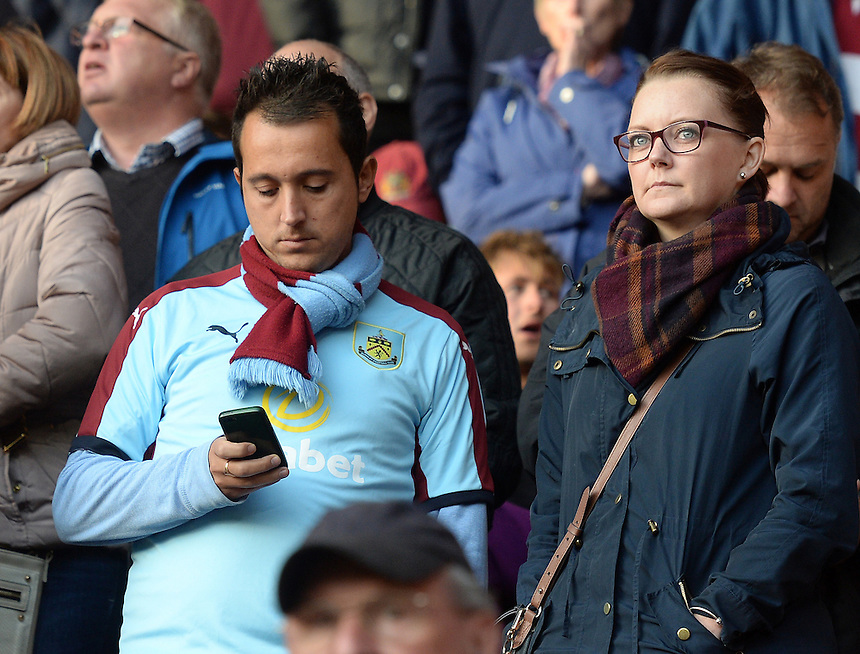 Burnley fans wait for the second half to begin <br /> <br /> Photographer Ian Cook/CameraSport<br /> <br /> The Premier League - Southampton v Burnley - Sunday 16th October 2016 - St Mary's Stadium - Southampton<br /> <br /> World Copyright &copy; 2016 CameraSport. All rights reserved. 43 Linden Ave. Countesthorpe. Leicester. England. LE8 5PG - Tel: +44 (0) 116 277 4147 - admin@camerasport.com - www.camerasport.com