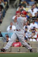 Joey Votto #19 of the Cincinnati Reds bats against the Los Angeles Dodgers at Dodger Stadium on July 3, 2012 in Los Angeles, California. Los Angeles defeated Cincinnati 3-1. (Larry Goren/Four Seam Images)