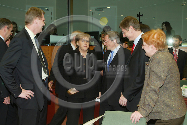 BRUSSELS - BELGIUM - 15 DECEMBER 2005 -- EU SUMMIT -- From left Matti VANHANEN, Prime Minister of Finland, Angela MERKEL Federal Chancellor of Germany,  Wolfgang SCHUESSEL (Sch?ssel), Federal Chancellor of Austria, Ferenc GYURCSANY (Gyurcs?ny), Prime Minister of Hungary and Tarja HALONEN, President of Finland.  PHOTO: ERIK LUNTANG / EUP-IMAGES