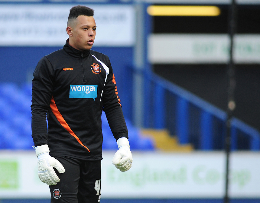 Blackpool's Myles Boney during the pre-match warm-up <br /> <br /> Photographer Kevin Barnes/CameraSport<br /> <br /> Football - The Football League Sky Bet Championship - Ipswich Town v  Blackpool - Saturday 11th April 2015 - Portman Road - Ipswich<br /> <br /> &copy; CameraSport - 43 Linden Ave. Countesthorpe. Leicester. England. LE8 5PG - Tel: +44 (0) 116 277 4147 - admin@camerasport.com - www.camerasport.com
