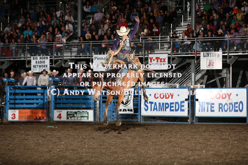 Bradley Harter, Veronica, Cody WY PRCA rodeo, Thursday performance. Photo by Andy Watson. All Photos (C) Watson Rodeo Photos, INC. Must have written Permission for any use.