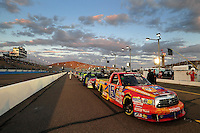 Nov. 13, 2009; Avondale, AZ, USA; The truck of NASCAR Camping World Truck Series driver Aric Almirola on pit road prior to the Lucas Oil 150 at Phoenix International Raceway. Mandatory Credit: Mark J. Rebilas-