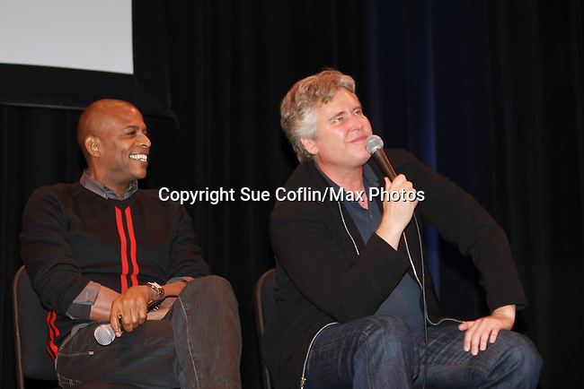 Darnell Williams and Michael E. Knight Q & A on stage - A Tribute to Pine Valley - celebrating 41 years of All My Children on October 26, 2011 at the State Theatre, New Brunswick, New Jersey. (Photo by Sue Coflin/Max Photos)