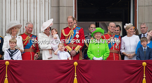 11.06.2016; London, UK: QUEEN&rsquo;S 90TH OFFICIAL BIRTHDAY<br /> Most members of the British Royal Family joined the Queen for the Trooping The Colour that marks her official birthday.<br /> Royals present included the Duke of Edinburgh, Prince Charles and Camilla, Duchess of Cornwall, Prince William, Kate Middleton, Prince George; Princess Charlotte; Prince Harry, Prince Andrew; Princess Beatrice, Princess Eugenie, Prince Edward, Sophie Wessex, Viscount Severn, Lady Louise Mountbatten-Windsor, Princess Anne, Zara Phillips &amp; Mike Tindal, Prince and Princess Michael Of Kent, Lady Helen Taylor, Duke of Kent, Duke of Gloucester and Duchess of Gloucester,Peter Phillips and Autumn and Lady Amelia Windsor.<br /> Mandatory Credit Photo: &copy;Francis Dias/NEWSPIX INTERNATIONAL<br /> <br /> (Failure to credit will incur a surcharge of 100% of reproduction fees)<br /> IMMEDIATE CONFIRMATION OF USAGE REQUIRED:<br /> Newspix International, 31 Chinnery Hill, Bishop's Stortford, ENGLAND CM23 3PS<br /> Tel:+441279 324672  ; Fax: +441279656877<br /> Mobile:  07775681153<br /> e-mail: info@newspixinternational.co.uk<br /> Please refer to usage terms. All Fees Payable To Newspix International