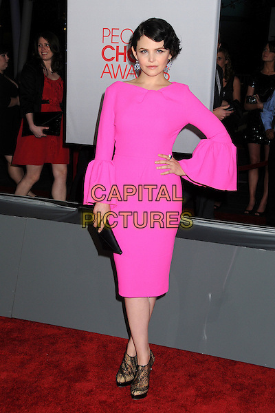 Ginnifer Goodwin.People's Choice Awards 2012 held at Nokia Live in Los Angeles, California, USA..January 11th, 2012.full length dress sleeves cuffs pouffy pink neon fluorescent black clutch bag sheer ankle shoes hand on hip.CAP/ADM/BP.©Byron Purvis/AdMedia/Capital Pictures.