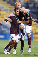21 AUGUST 2010:  Colorado Rapids  Pablo Mastroeni (25), Jeff Larentowicz and Conor Casey celebrate Pablo Mastroeni's goal during MLS soccer game between Colorado Rapids vs Columbus Crew at Crew Stadium in Columbus, Ohio on August 21, 2010.