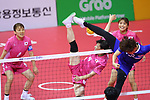 Yuumi Kawamata (JPN), <br /> AUGUST 20, 2018 - Sepak takraw : <br /> Women's Team Regu Preliminary match <br /> between Malaysia - Japan<br /> at Jakabaring Sport Center Ranau Hall <br /> during the 2018 Jakarta Palembang Asian Games <br /> in Palembang, Indonesia. <br /> (Photo by Yohei Osada/AFLO SPORT)