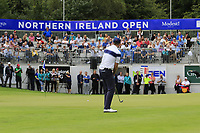 Stuart Manley (WAL) chips onto the 18th green during Sunday's Final Round of the Northern Ireland Open 2018 presented by Modest Golf held at Galgorm Castle Golf Club, Ballymena, Northern Ireland. 19th August 2018.<br /> Picture: Eoin Clarke | Golffile<br /> <br /> <br /> All photos usage must carry mandatory copyright credit (&copy; Golffile | Eoin Clarke)