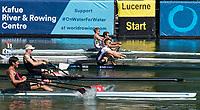 Lucerne, SWITZERLAND, 13th July 2018, Friday GBR LM1X. Samuel MOTTRAM, Start Area, Men's lightweight single scull heat, FISA World Cup series, No.3, Lake Rotsee, Lucerne, © Peter SPURRIER,