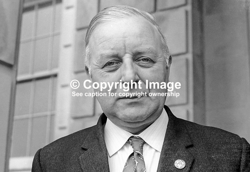John Dunlop, Vanguard Unionist member, N Ireland Assembly, October, 1973, 197310000653<br /> <br /> Copyright Image from Victor Patterson, 54 Dorchester Park, <br /> Belfast, UK, BT9 6RJ<br /> <br /> t1: +44 28 9066 1296 (from Rep of Ireland 048 9066 1296)<br /> t2: +44 28 9002 2446 (from Rep of Ireland 048 9002 2446)<br /> m: +44 7802 353836<br /> <br /> e1: victorpatterson@me.com<br /> e2: victorpatterson@gmail.com<br /> <br /> www.victorpatterson.com<br /> <br /> Please see my Terms and Conditions of Use at VICTORPATTERSON.COM. It is IMPORTANT that you familiarise yourself with them.<br /> <br /> Images used on the Internet must be visibly watermarked i.e. &copy;VICTORPATTERSON.COM within the body of the image and copyright metadata must not be deleted. Images used on the Internet have a size restriction of 4kbs and are chargeable at the then current NUJ rates.<br /> <br /> This image is only available for the use of the download recipient i.e. television station, newspaper, magazine, book publisher, etc, and must not be passed on to any third party. It is also downloaded on condition that each and every usage is notified within 7 days to victorpatterson@me.com<br /> <br /> The right of Victor Patterson to be identified as the author is asserted in accordance with The Copyright Designs And Patents Act (1988).