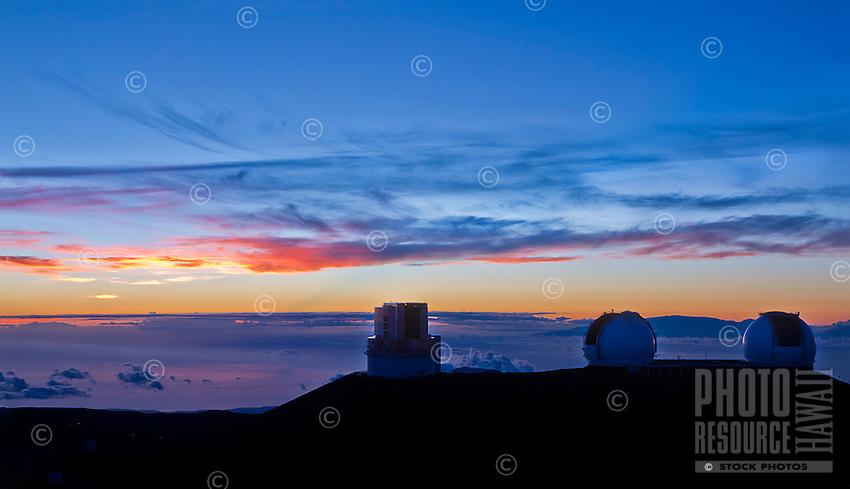 Sunset at the Mauna Kea Observatory, Big Island.