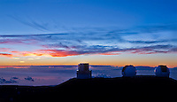 Sunset at the Mauna Kea Observatory, Big Island.
