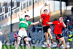 Gavan O'Grady Glenbeigh/Glencar and Dylan Brazil Na Gaeil compete for the kick out during the Junior Premier final in Fitzgerald Stadium on Sunday