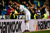 10th January 2018, Santiago Bernabeu, Madrid, Spain; Copa del Rey football, round of 16, 2nd leg, Real Madrid versus Numancia; Lucas Vazquez Iglesias (Real Madrid) celebrates his goal which made it 1-0