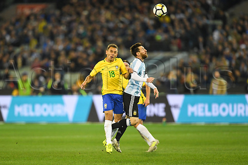June 9th 2017, Melbourne Cricket Ground, Melbourne, Australia; International Football Friendly; Brazil versus Argentina; Marcio Rafael Souza of Brazil collides with Lionel Messi of Argentina